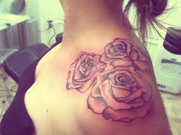 rose flowers tattoo on left shoulder for girls and information