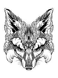 fox head animals coloring pages for adults justcolor