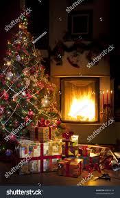 christmas tree christmas gift boxes interior stock photo 89002219