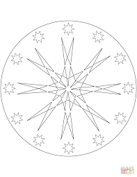 simple mandala with stars coloring page free printable coloring