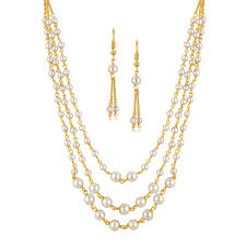 set of gold buy spargz gold plated traditional party pearl multi strand mala