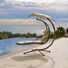 Outdoor Hanging Lounge Chair Interesting Brown Hanging Chaise Lounger Chair Near Swimming Pool