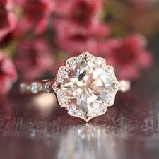 scalloped engagement ring 14k gold vintage floral morganite engagement ring scalloped