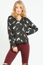 bird blouse bird print pyjama style blouse in black