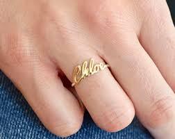wedding ring names gold name ring etsy