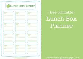 lunch box planner template creative school lunch ideas