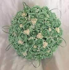 mint green flowers wedding artificial bouquet mint green ivory foam