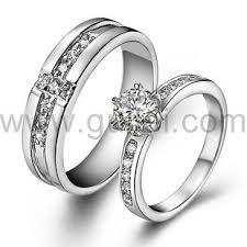 couples wedding rings images Personalized sterling silver diamond couples wedding ring for 2 jpg