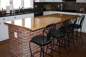 black kitchen island with butcher block top rustic style brick kitchens wall decoration ideas decorating
