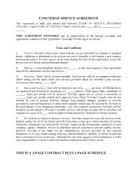 Cleaning Service Agreement Template Concierge Services Contract Form Legal Forms And Business