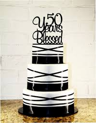 50th birthday wedding anniversary cake topper 50 years blessed