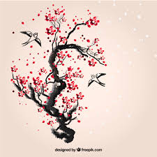 painted cherry tree vector free