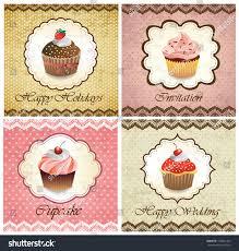 Cherry Cupcake Invitation Card Royalty Set Vintage Various Cupcake Cards Template Stock Vector 100641454