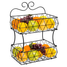 fruit basket stand bestchoiceproducts rakuten best choice products 2 tier