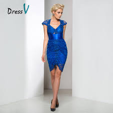 aliexpress com buy dressv royal blue lace high low cocktail
