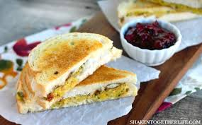 thanksgiving leftovers grilled cheese sandwiches shaken together