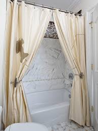Whimsical Shower Curtains Using Two Shower Curtains And A Pair Of Whimsical Drapery Tie