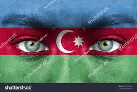 Flag Face Human Face Painted Flag Azerbaijan Stock Photo 105935936