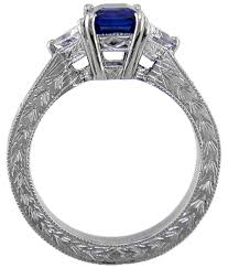 hand engraved rings images Sapphire and diamond platinum ring with hand engraving bijoux gif