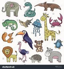 wild animals and birds cartoon kids set vector stickers