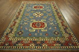 6x8 Area Rug Geometric Design 6x8 Blue Super Kazak Wool Hand Knotted Oriental