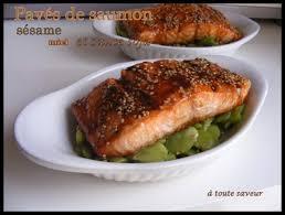 cuisiner pavé de saumon au four pavés de saumon au sésame miel et sauce soja sur lit de fèves a