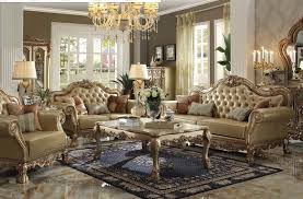 Chocolate Living Room Set 2 Living Room Set In Gold Patina Finish By Acme 53160 S