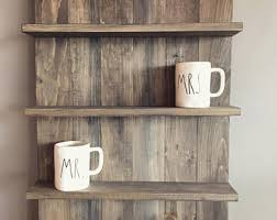 Wooden Shelves Pics by Rustic Wooden Shelf Etsy