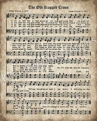 Old Rugged The Old Rugged Cross Print Printable Vintage Sheet Music