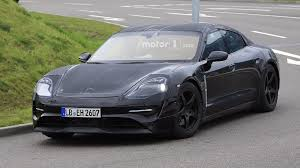 porsche electric mission e porsche mission e spied for the first time with production body
