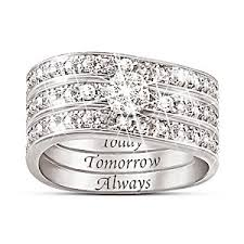 3 engagement ring engraved diamond womens three band ring message of