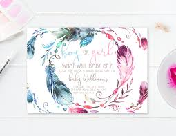 gender reveal invitation gender reveal party boho watercolor