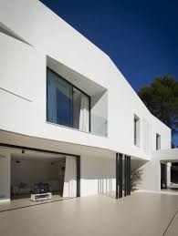 villa open living room design to the terrace use white curtain to