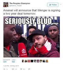 Arsenal Tottenham Meme - arsene wenger and arsenal memes twitter reacts daily mail online
