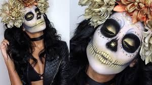 Sugar Skull Halloween Makeup Gold Sugar Skull Makeup Tutorial U0026 Costume Youtube