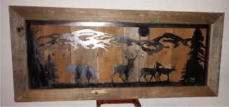 country mountain bear deer metal cut metal repurposed