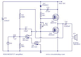 mosfet amplifier circuit 10 watts electronica bf pinterest