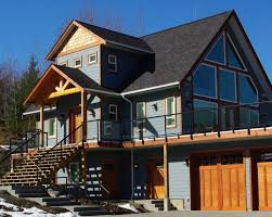 Garage Style Homes Custom Prefab Chalet Style Home With Huge Deck Over The Garage