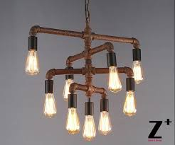 9 Bulb Chandelier Industrial Lights Diy Made Rustic Iron Pipe Vintage 9 Edison