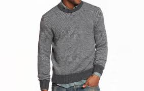 contrast crewneck sweater grey and charcoal marine layer