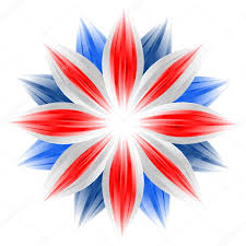 British Flag With Red Flower With British Flag Colors On White U2014 Stock Photo