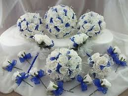 wedding flowers blue and white royal blue and white wedding bouquet flowers package ebay