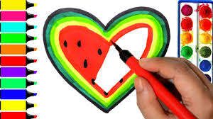 heart watermelon coloring pages art colors for kids learn