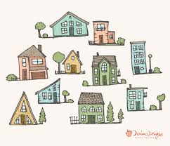 Cute Homes by Cute Houses Clipart Commercial Use Homes Pastel Trees