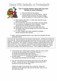 was henry viii catholic or protestant worksheet year 8 study