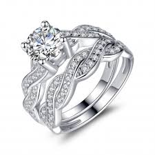 womens wedding ring sets sterling silver cubic zirconia 1 28ct cut infinity women s