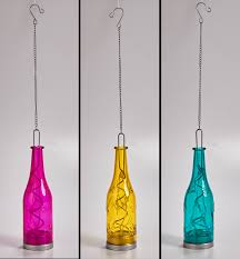 Battery Operated Hanging Lights Battery Operated Hanging Fiesta Glass Bottles Pink Blue And
