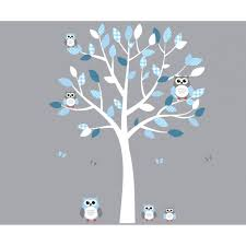 white and blue owl stickers with wall decals tree for play rooms white and blue owl art for kids with tree wall sticker for play rooms