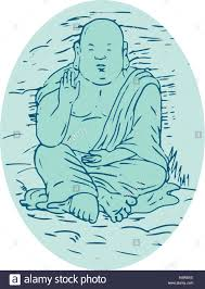 drawing sketch style illustration of gautama buddha also known as