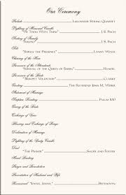 wedding ceremony programs wording best photos of one page wedding program wording one page wedding